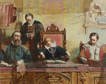 James VI Asleep at Church - John Ritchie reproduction oil painting