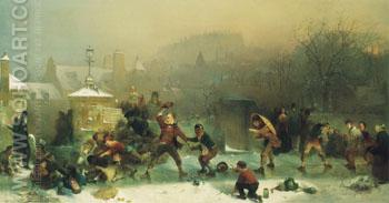 The Slide Under the Castle 1854 - John Ritchie reproduction oil painting