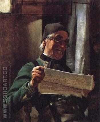 Leyendo El Newpaper - Tito Lessi reproduction oil painting