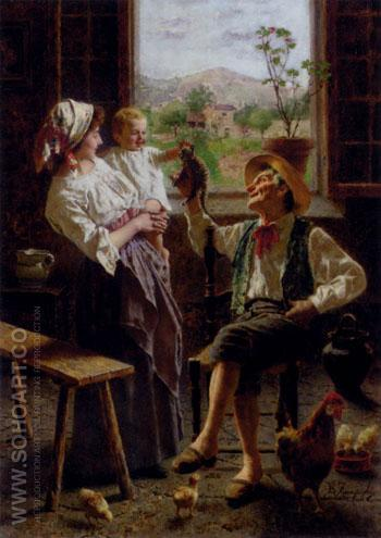 A New Friend - Eugenio Zampighi reproduction oil painting