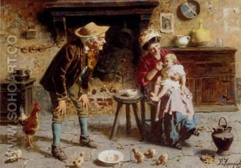 Grandfathers Pet - Eugenio Zampighi reproduction oil painting