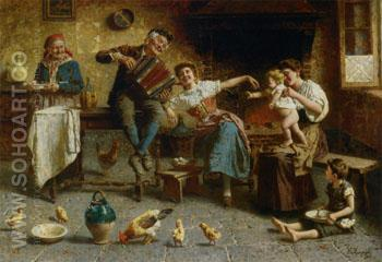 Playing For Baby - Eugenio Zampighi reproduction oil painting