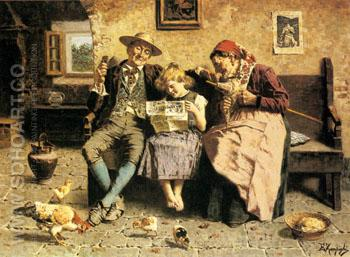 Reading The News - Eugenio Zampighi reproduction oil painting