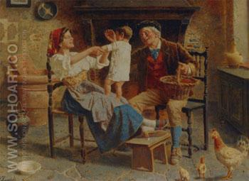 The Happy Family - Eugenio Zampighi reproduction oil painting