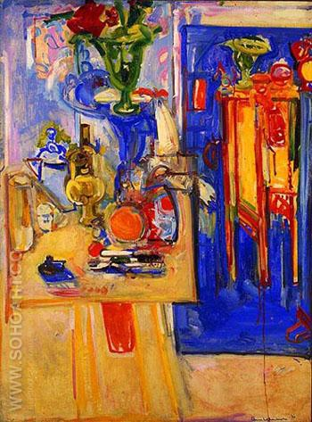 Table with Tea Kettle 1936 - Hans Hofmann reproduction oil painting