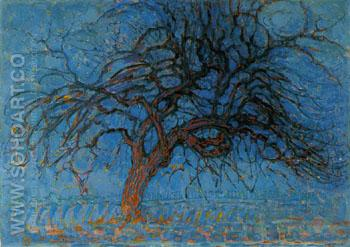 Evening Red Tree 1908 - Piet Mondrian reproduction oil painting