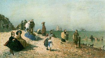 Les Bains de Mer A Honfleur - Alexandre Dubourg reproduction oil painting