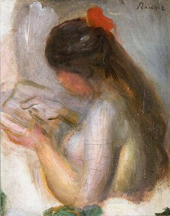 Portrait de Jeune Fille Lisant - Pierre Auguste Renoir reproduction oil painting