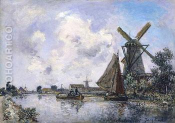 Canal Pres de Rotterdam 1867 - Johan Barthold Jongkind reproduction oil painting