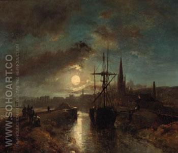 Figures on a Jetty in the Moonlit Harbour of Harfleur - Johan Barthold Jongkind reproduction oil painting