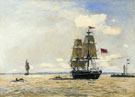 Norwegian Naval Ship Leaving the Port of Honfleur - Johan Barthold Jongkind reproduction oil painting