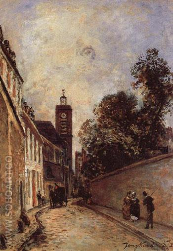 Rue de LAbbe de 1 Epee and Church - Johan Barthold Jongkind reproduction oil painting