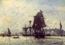 Sailing Ships at Honfleur - Johan Barthold Jongkind reproduction oil painting