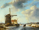 Skaters in Holland - Johan Barthold Jongkind reproduction oil painting