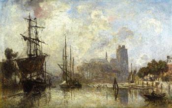 The Port of Dordrecht - Johan Barthold Jongkind reproduction oil painting