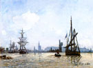 View of Rouen - Johan Barthold Jongkind reproduction oil painting