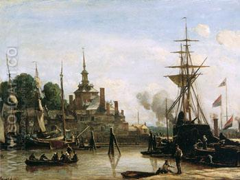 View on Harbour Rotterdam Sun - Johan Barthold Jongkind reproduction oil painting