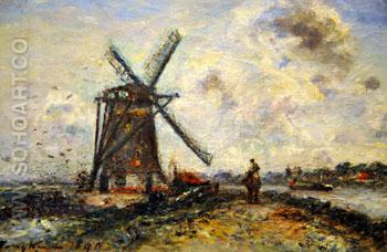 Zoutveau Polder near Delft at Corcoran - Johan Barthold Jongkind reproduction oil painting