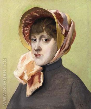 Portrait of a Girl in a Pink Bonnet - Jacques Emile Blanche reproduction oil painting