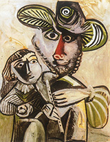 Paternite Man with Flute and Child 1971 - Pablo Picasso