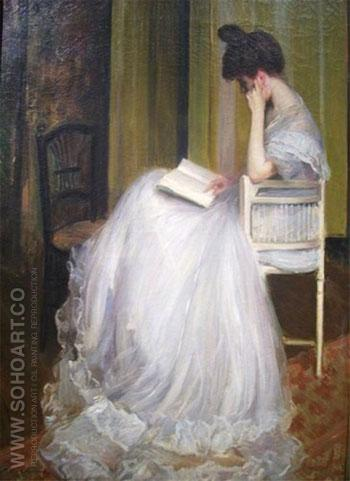 Woman Reading 1899 - Jacques Emile Blanche reproduction oil painting