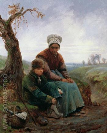 Peasant Woman and Boy 1846 - Adolf Felix Cals reproduction oil painting