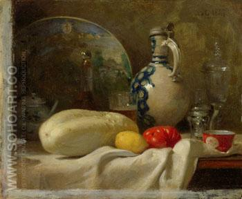 Still Life with a Cucumber and a Pitcher 1847 - Adolf Felix Cals reproduction oil painting