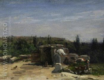 The Well in the Rue Montlaville Orrouy B - Adolf Felix Cals reproduction oil painting