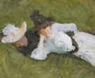 Two Girls on a Lawn 1889 - John Singer Sargent reproduction oil painting