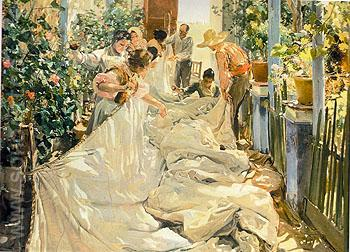 Sewing The Sail 1896 - Joaquin Sorolla reproduction oil painting