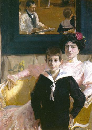 Portrait of Dona Lucrecia Arana with Her Son 1906 - Joaquin Sorolla reproduction oil painting