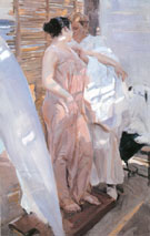 The Pink Robe 1916 - Joaquin Sorolla reproduction oil painting