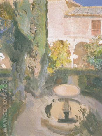 Lindaraja Garden in the Alhambra Granada 1910 - Joaquin Sorolla reproduction oil painting