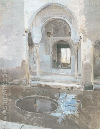 The Patio de La Justicia in the Alhambra Granada 1910 - Joaquin Sorolla reproduction oil painting