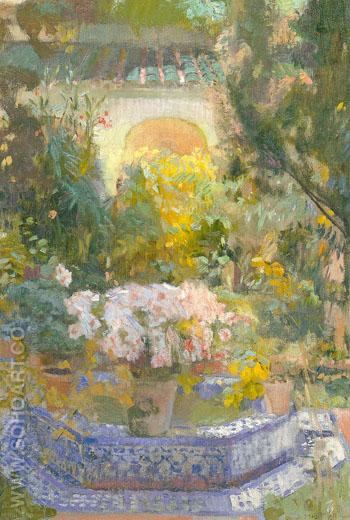 Courtyard in the Sorolla Residence 1917 - Joaquin Sorolla reproduction oil painting