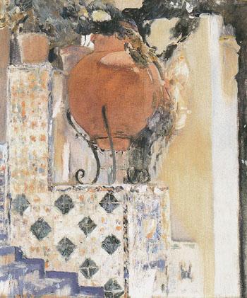 Detail of the Garden Sorolla Residence c1916 - Joaquin Sorolla reproduction oil painting