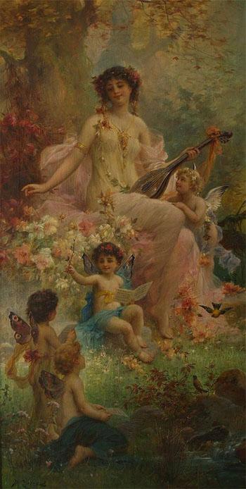Paradies Mit Engeln - Hans Zatzka reproduction oil painting