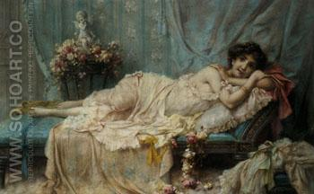 Reclining Beauty - Hans Zatzka reproduction oil painting
