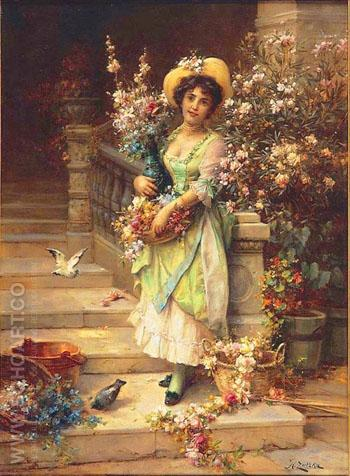The Flower Seller - Hans Zatzka reproduction oil painting