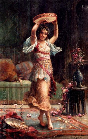 The Tambourine - Hans Zatzka reproduction oil painting