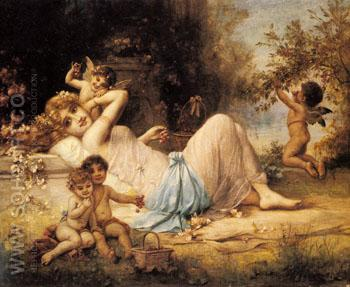 Venus and Her Attendants - Hans Zatzka reproduction oil painting