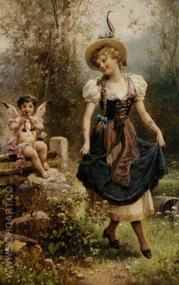 Verliebtes Dirndel - Hans Zatzka reproduction oil painting