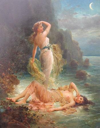 Water Nymphs c1890 - Hans Zatzka reproduction oil painting