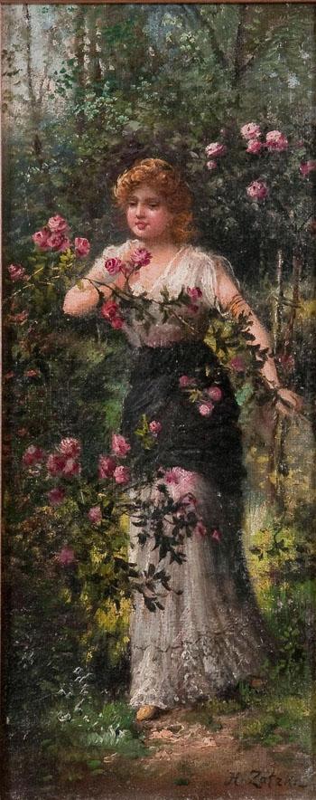 Woman in Rose Garden - Hans Zatzka reproduction oil painting