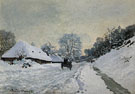 The Cart Snow Covered Road at Honfleur 1867 - Claude Monet