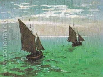 Fishing Boats at Sea 1868 - Claude Monet reproduction oil painting