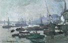 Boats in the Port of London 1871 - Claude Monet reproduction oil painting