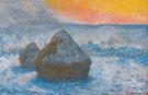 Hay Stacks Sunset Snow Effect 1890 - Claude Monet