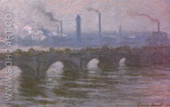 Waterloo Bridge Cloudy Day 1899 - Claude Monet reproduction oil painting