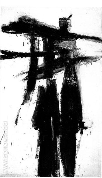 Untitled A 1956 - Franz Kline reproduction oil painting
